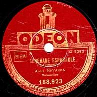 78 T.- 25 Cm - état B - André NAVARRA  Violonceliste - SERENADE ESPAGNOLE - 5° DANSE ESPAGNOLE - 78 Rpm - Schellackplatten