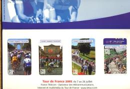 TICKET (forme Télécarte) France Telecom X4 Tour De France Cycliste 2001 Cyclisme Course Vélo Bicycle Race Phone Tickets - Sport
