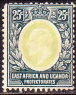 EAST AFRICA & UGANDA 1907 SG40 25c MNG Centre Faded Chalky Paper - Protectorados De África Oriental Y Uganda