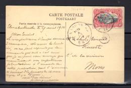 Avril 1914   Après La Revue, Gare Et Soldats,  Carte Postale Vers Mons  Belgique, Elisabethville
