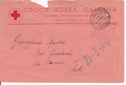 CROCE ROSSA ITALIANA, COMITATO ASTI,BUSTA VIAGGIATA IN FRANCHIGIA,1944, POSTE ASTI - Organizzazioni