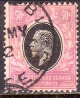 EAST AFRICA & UGANDA 1921 SG71 50c Used Wmk Mult.Script CA CV £120 Tiny Thin In Low Left Corner - Kenya, Uganda & Tanganyika