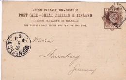 UPU Post Card Von London Nach NÜRNBERG Am 30.5.1889. O23 Auf Der Rückseite (Philadelphia Railroad Company) - 1840-1901 (Victoria)