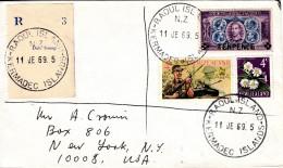 RAOUL ISLAND REGISTERED COVER 1969  SEND To USA. - Neuseeland