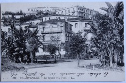 CPA Algérie Philippeville SKIKDA Jardins Et Poste - Skikda (Philippeville)