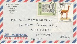 Peru Air Mail Cover Sent To USA Topic Stamps - Pérou