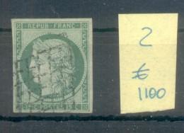 CERES TYPOGRAPHIE PAPIER TEINTE AN 1850 YVERT NR. 2 OBLITERE AVEC 2 CERTIFICATIONS D'EXPERTS AU DOS - 1849-1850 Cérès