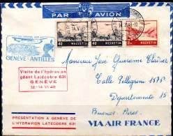 SWITZERLAND / SUISSE 1948. First Flght Genève-Antilles By Latécoère 631