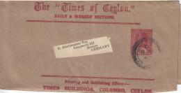 "Ceylon 6 S GA 2 X Streifband ""Times Of Ceylon"" Colombo Nach Bremen 1920 - Sri Lanka (Ceylan) (1948-...)"