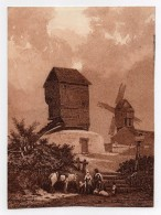 Gravure Péquegnot 1857 Magasin Des Demoiselles Moulin à Vent Cheval Famille - Prints & Engravings