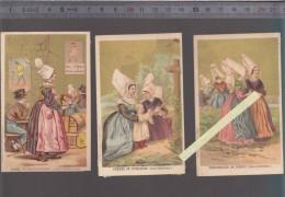 Chromo - Lot De 3 - Nicollon Pharmacien Le Croisic - Costumes Pornic, Guerande, Chateaubriant - Kaufmanns- Und Zigarettenbilder