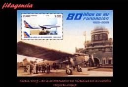 AMERICA. CUBA MINT. 2009 80 ANIVERSARIO DE CUBANA DE AVIACIÓN. AVIONES. HOJA BLOQUE - Unused Stamps