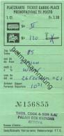 Schweiz - Platzkarte Ticket Garde-Place - 1961 1. Classe - Nichtraucher Fr. 1.50 Zürich Wien - Transporttickets