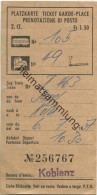 Schweiz - Platzkarte Prenotazione Di Posto - 1957 2. Classe - Raucher Fr. 1.50 Basel Köln - Transporttickets