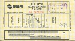 Spanien - Billete Plazas Sendatas Y Literas - Platzkarte - RENFE - 1981 Madrid Bilbao - Sonstige