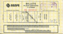 Spanien - Billete Plazas Sendatas Y Literas - Platzkarte - RENFE - 1981 Madrid Bilbao - Transporttickets