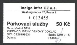 Prague, Czech Republic, Parking Receipt - Tickets - Vouchers