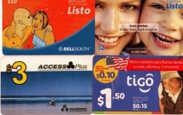 LOTE DE 4 TARJETAS TELEFONICAS DE ECUADOR. (PREPAGO)