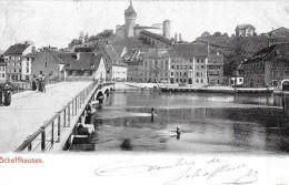 SCHAFFHAUSEN → Rheinbrücke Mit Passanten Und Dem Munot 1909 - SH Schaffhausen