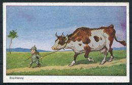 WW1 Germany Requirierung Cow / Child Children Kinder Comic Postcard - Humour