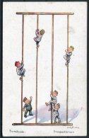 WW1 Germany Turnstunde Stangenklettern / Child Children Kinder Comic Postcard - Humour