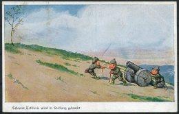 WW1 Germany Schwere Artillerie Children Kinder Comic Postcard - Humour