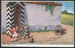 WW1 Germany 'Liebe Macht Blind' Dog Hunde Children Kinder Comic Postcard - Humour