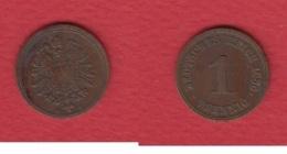 1 Pfennig 1886 F --  Selten - [ 2] 1871-1918: Deutsches Kaiserreich