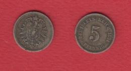 Allemagne  --  5 Pfennig 1874 C-- TTB  -- Assez Rare En L état - [ 2] 1871-1918: Deutsches Kaiserreich