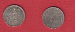 Allemagne  --  5 Pfennig 1875 J-- TTB-- - [ 2] 1871-1918: Deutsches Kaiserreich