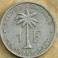 BELGIAN CONGO 1 FRANC PALM TREE FRONT SHIELD BACK 1957 VF/VF KM4 READ DESCRIPTION CAREFULLY !!! - 1951-1960: Baudouin I