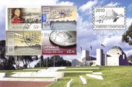 Australia 2010 Canberra Stampshow Minisheet CTO - Coinage, Powered Flight - Used Stamps