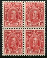 Southern Rhodesia 1931-37 King George V - 1d Scarlet - P.11½ - Block Of 4 MNH (SG 16a) - Südrhodesien (...-1964)