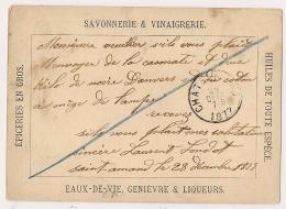 Repiquage Privé, EAUX DE VIE, GENIEVRE, LIQUEURS Etc....de FLEURUS Pour LE CHATELET. 1877. - Stamped Stationery