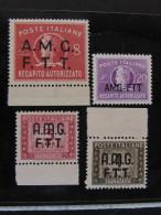 """ITALIA Trieste AMG-FTT - """"Lotto"""" 4 Val. Varietà Fil. Lettere Parziali S.G. (descrizione) - Nuovi"""