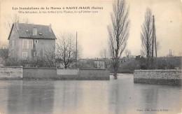 CPA 94  INONDATIONS DE LA MARNE A  ST MAUR VILLA SCHACKEN LA RUE ARTHUR ET LE VIADUC LE 19 FÉVRIER 1910 - Saint Maur Des Fosses