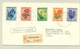 Nederland - 1953 - Zomerserie Bloemen / Flowers 1e Dag Compleet Op R-brief Naar Grand Rapids / USA - 1949-1980 (Juliana)