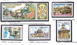 ROUMANIE 1995 JOURNEE DU TIMBRE MONUMENTS 4267 4276 4282  A 4284  MNH - 1948-.... Républiques