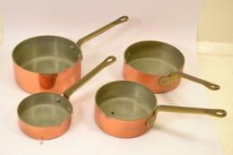 Série De 4 Petites Casserolles Casseroles En Cuivre étamé, Déco Cuisine Gastronomie - Cuivres