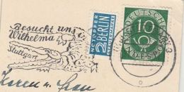 1963 GERMANY  Stamps COVER SLOGAN Illus CROCODILE Visit Us In Wilhemla Stuttgart (postcard) - Reptiles & Amphibians