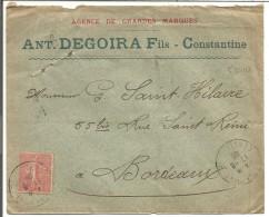 ALGERIE OBLITERATION SUR LETTRE A EN TETE DE C0NSTANTINE DU 17/6/1906 - Unclassified
