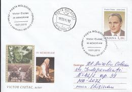 46738- VICTOR CIUTAC, ACTOR, CINEMA, COVER STATIONERY, OBLIT FDC, 2010, MOLDOVA - Cinema