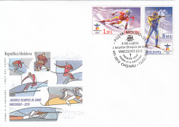 46776- VANCOUVER'10 WINTER OLYMPIC GAMES, SKIING, BIATHLON, SKATING, ICE HOCKEY, SLED, COVER FDC, 2010, MOLDOVA