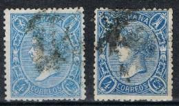Dos Sellos 4 Cuartos Isabel II 1865, Variedad Color, Edifil Num 75 - 75a º - Oblitérés