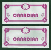 "Test Note ""TRITON CANADIAN"" Testnote, Typ B, 20 Units,, Pink, Beids. Druck, Sample, RRR, UNC - USA"