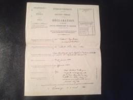 DÉCLARATION, ENREGISTREMENT DE LOCATION VERBALE , 1880 , LIMOGES - Invoices & Commercial Documents