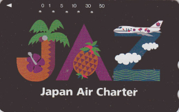 Rare Télécarte Japon - AVIATION -  AIRLINES JAL JAZ - Plane Japan Phonecard - Flugzeug TK   Ananas Hibiscus - Avion 2105 - Avions