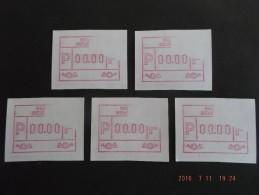 TEST-NULDRUK : 5 X Ongewone Deeldruk. C Papier.  RRR. - Automatenmarken (ATM)