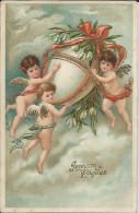 CP Fantaisie Avec 3 Anges  Joyeuses Paques 1907 - Pasen