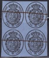 1855 SPAIN EDIFIL 38 ESCUDO DE ESPAÑA BLOQUE DE 4 USADO (200€) RRR SPANIEN ESPAGNE SPANJE - Gebraucht